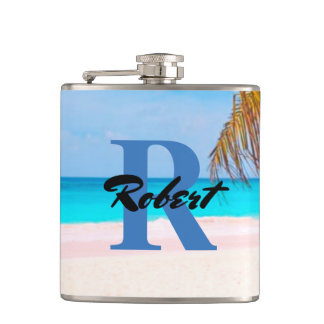 Tropical Beach View - Personalized - Hip Flask