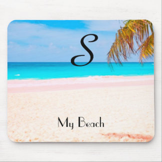 Tropical Beach View with Initial - Mouse Pad