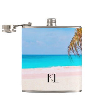 Tropical Beach View with Your Initials Hip Flask