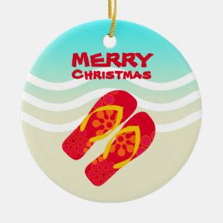 Tropical Beach Waves Merry Christmas Round Ceramic Decoration