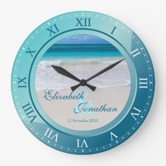 Tropical Beach Wedding Anniversary Turquoise Blue Large Clock