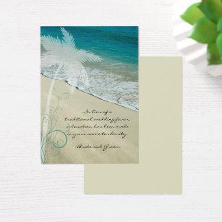 Tropical Beach Wedding Charity Favor Card