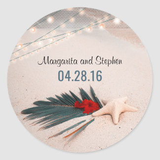 Tropical Beach Wedding Classic Round Sticker