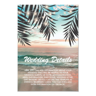 Tropical Beach Wedding Details | String of Lights Card