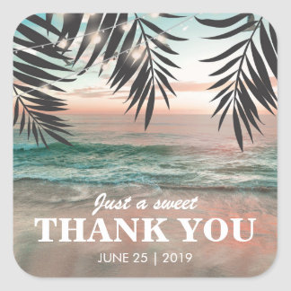 Tropical Beach Wedding Favor | String of Lights Square Sticker