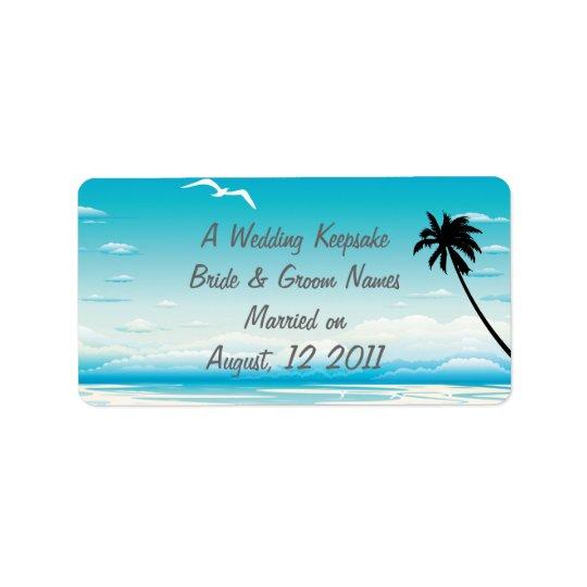 Tropical Beach Wedding Favour Lip Balm Tube Label Address Label