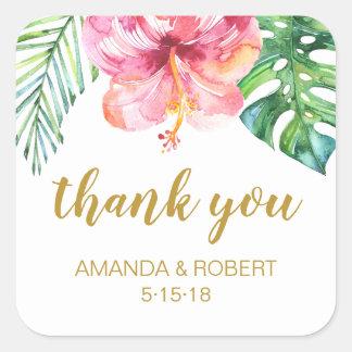 Tropical Beach Wedding Favour Sticker