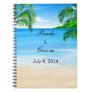 Tropical Beach Wedding Guest Book Note Books