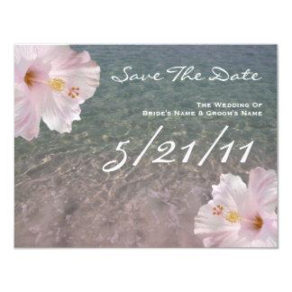 Tropical Beach Wedding Hibiscus Save The Date 11 Cm X 14 Cm Invitation Card