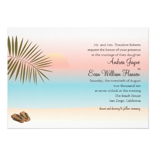 Tropical Beach Wedding Custom Invite