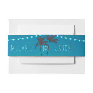 Tropical Beach Wedding Invitation Belly Band