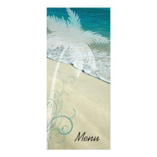 Tropical Beach Wedding Menu Rack Cards