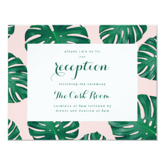 Tropical Beach Wedding Reception Card 11 Cm X 14 Cm Invitation Card