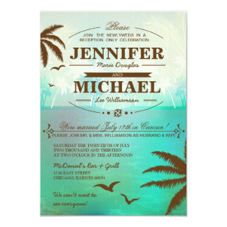 Tropical Beach Wedding Reception Only  Invitations