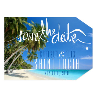 Tropical Beach Wedding Save the Date Tag Card