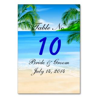 Tropical Beach Wedding Table Card