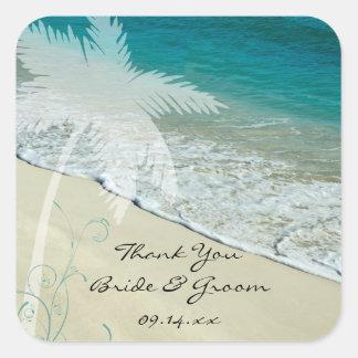 Tropical Beach Wedding Thank You Favor Tags Square Sticker