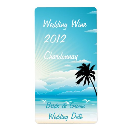Tropical Beach Wedding Wine Label