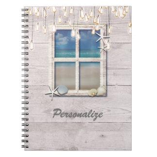 Tropical Beach Window White Wood Elegant Chic Spiral Notebook