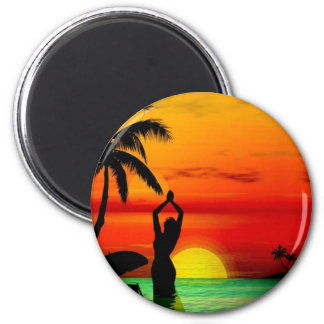 TROPICAL BEACH WISH YOU WERE HERE CUSTOM POSTCARD 6 CM ROUND MAGNET