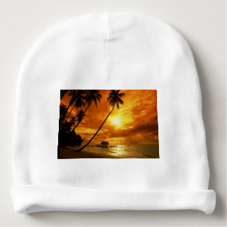 TROPICAL BEACH WISH YOU WERE HERE CUSTOM POSTCARD BABY BEANIE