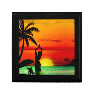 TROPICAL BEACH WISH YOU WERE HERE CUSTOM POSTCARD GIFT BOX