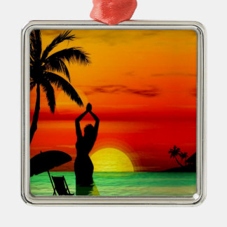 TROPICAL BEACH WISH YOU WERE HERE CUSTOM POSTCARD Silver-Colored SQUARE DECORATION