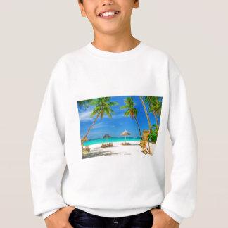 TROPICAL BEACH WISH YOU WERE HERE CUSTOM POSTCARD SWEATSHIRT