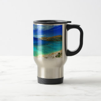 TROPICAL BEACH WISH YOU WERE HERE CUSTOM POSTCARD TRAVEL MUG