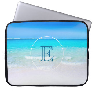 Tropical Beach with a Turquoise Sea Monogram Laptop Sleeve
