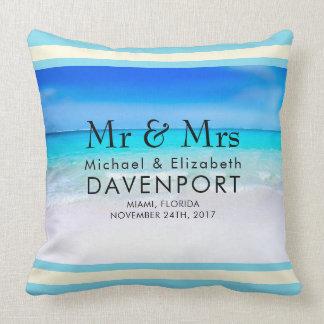 Tropical Beach with a Turquoise Sea Wedding Cushion