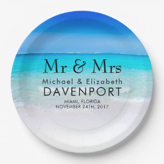 Tropical Beach with a Turquoise Sea Wedding Paper Plate