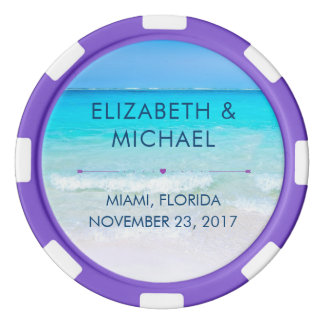 Tropical Beach with a Turquoise Sea Wedding Poker Chips