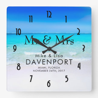 Tropical Beach with a Turquoise Sea Wedding Square Wall Clock