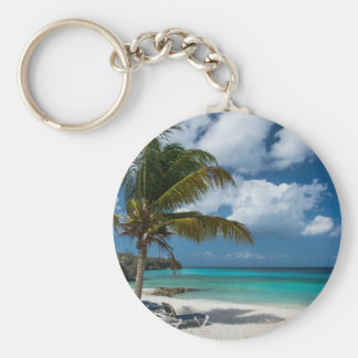 Tropical Beach with Palm Tree Basic Round Button Key Ring