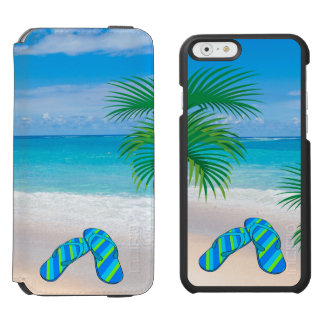 Tropical Beach with Palm Trees and Flip Flops Incipio Watson™ iPhone 6 Wallet Case
