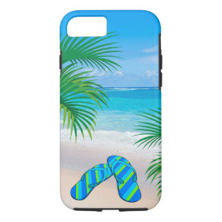 Tropical Beach with Palm Trees and Flip Flops iPhone 7 Case