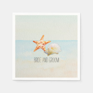 Tropical Beach with Starfish and Conch Disposable Napkin