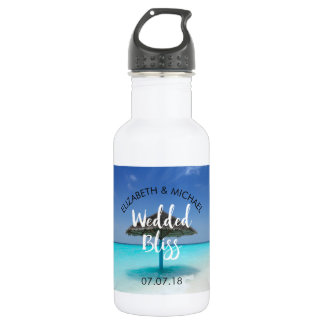 Tropical Beach with Thatched Umbrella Wedding 532 Ml Water Bottle