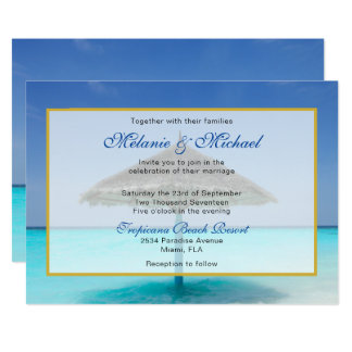 Tropical Beach with Thatched Umbrella Wedding Card