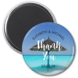 Tropical Beach with Thatched Umbrella Wedding Magnet