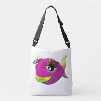 Tropical beautiful pink girl fish crossbody bag