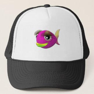 Tropical beautiful pink girl fish trucker hat