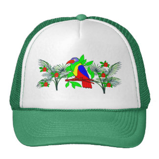 Tropical Bird and Flowers Cap