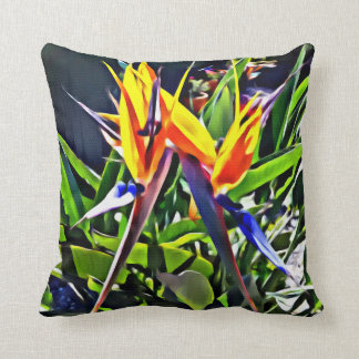 Tropical Bird of Paradise Cushion - Textured Look