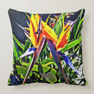 Tropical Bird of Paradise Throw Pillow