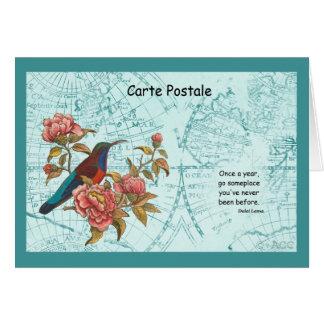 Tropical Bird Travel World Map Carte Postale Card