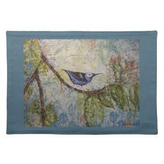 Tropical Bird Watercolor Art Blue Placemat
