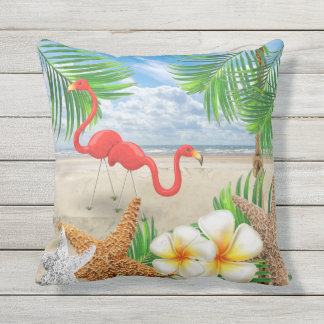 Tropical Birds at the Beach Outdoor Cushion
