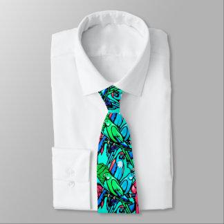 Tropical Birds Blue Tie